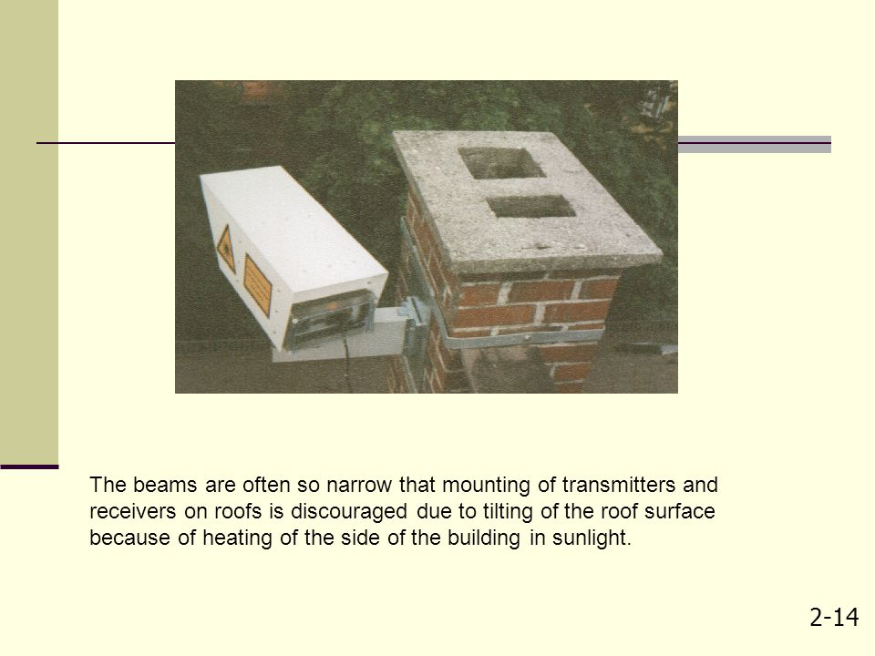 2-14 The beams are often so narrow that mounting of transmitters and receivers on roofs is discouraged due to tilting of the roof surface because of h
