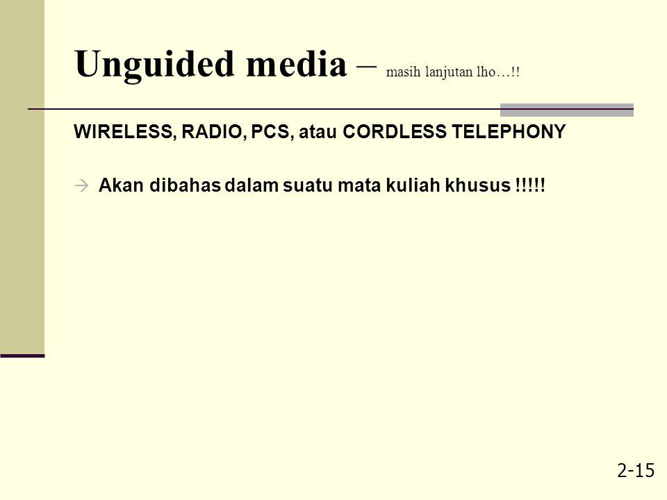 2-15 Unguided media – masih lanjutan lho…!! WIRELESS, RADIO, PCS, atau CORDLESS TELEPHONY  Akan dibahas dalam suatu mata kuliah khusus !!!!!