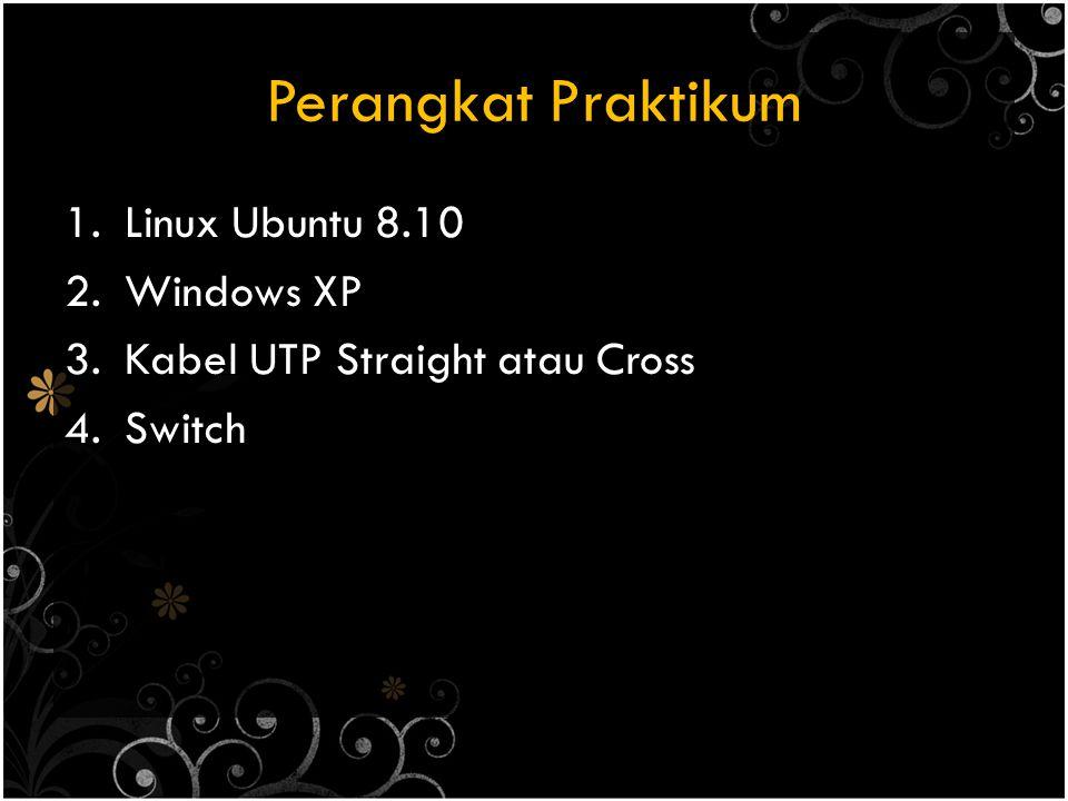 Perangkat Praktikum 1.Linux Ubuntu 8.10 2.Windows XP 3.Kabel UTP Straight atau Cross 4.Switch