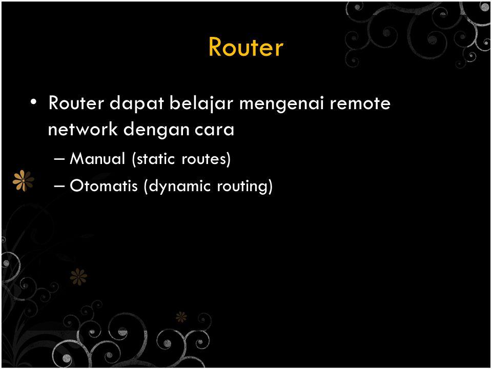 Router Router dapat belajar mengenai remote network dengan cara – Manual (static routes) – Otomatis (dynamic routing)