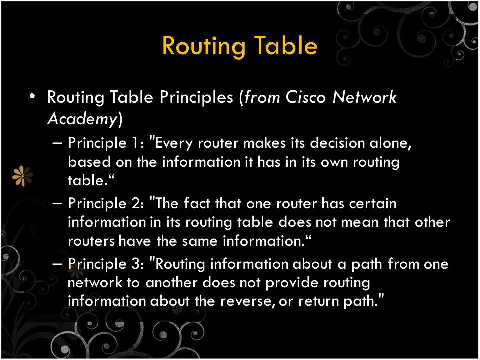 Default Static Route Default Gateway / Default Static Route – Route yang sesuai dengan seluruh paket Network : 0.0.0.0 Subnetmask : 0.0.0.0 Default static routes digunakan – Router hanya punya satu router lain yang terhubung – Ketika tidak ada routing table yang sesuai dengan IP Address tujuan