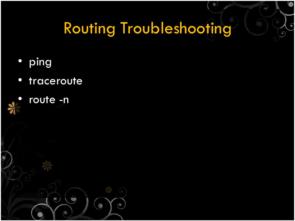 Routing Troubleshooting ping traceroute route -n