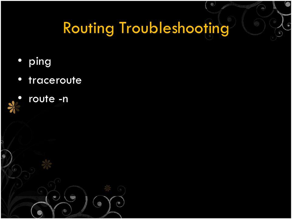Static Routing Menggunakan perintah : route Berdasarkan konfigurasi network address & subnet mask Jika hanya ada satu gateway, dapat memakai default route