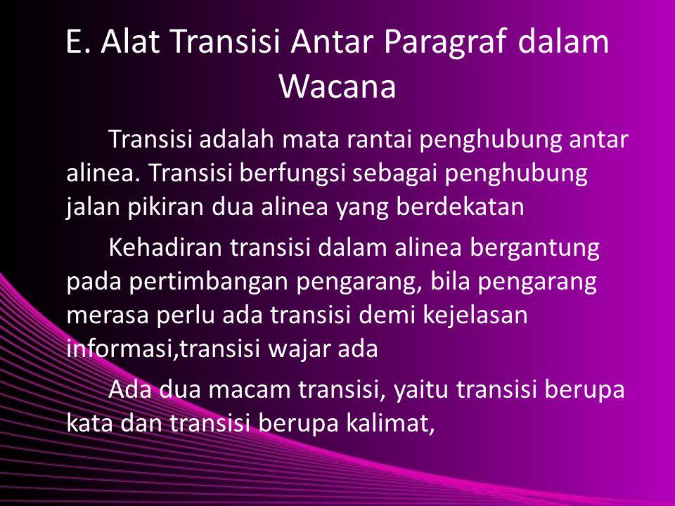 E. Alat Transisi Antar Paragraf dalam Wacana Transisi adalah mata rantai penghubung antar alinea. Transisi berfungsi sebagai penghubung jalan pikiran