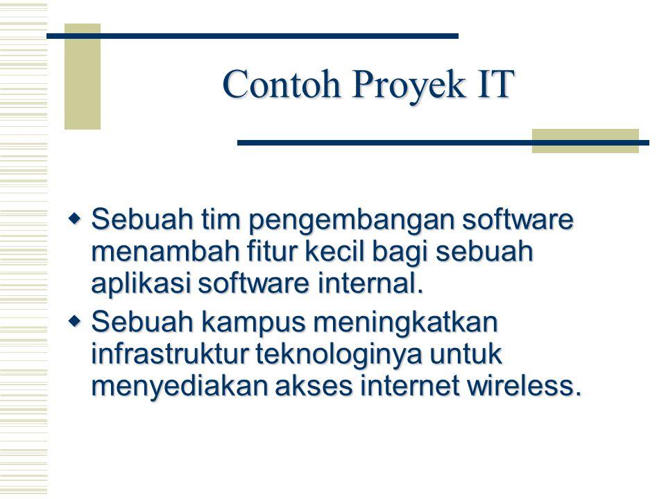 Contoh Proyek IT  Sebuah tim pengembangan software menambah fitur kecil bagi sebuah aplikasi software internal.  Sebuah kampus meningkatkan infrastr