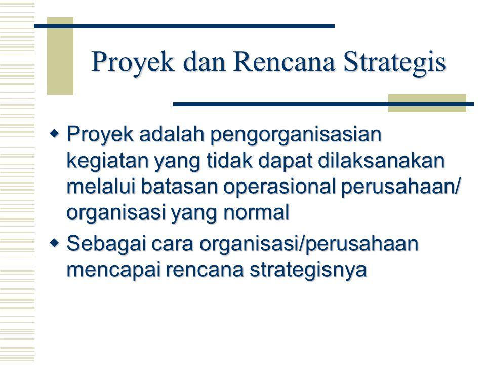 Proyek dan Rencana Strategis  Proyek adalah pengorganisasian kegiatan yang tidak dapat dilaksanakan melalui batasan operasional perusahaan/ organisas