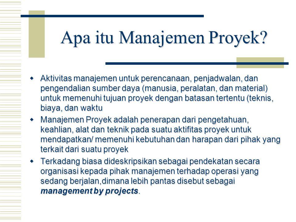 Apa itu Manajemen Proyek?  Aktivitas manajemen untuk perencanaan, penjadwalan, dan pengendalian sumber daya (manusia, peralatan, dan material) untuk