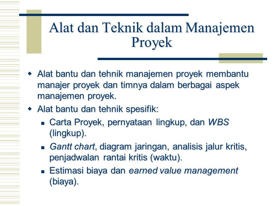 Alat dan Teknik dalam Manajemen Proyek  Alat bantu dan tehnik manajemen proyek membantu manajer proyek dan timnya dalam berbagai aspek manajemen proy