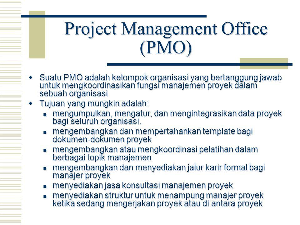 Project Management Office (PMO)  Suatu PMO adalah kelompok organisasi yang bertanggung jawab untuk mengkoordinasikan fungsi manajemen proyek dalam se