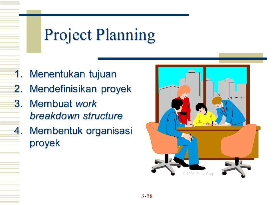 3-58 1.Menentukan tujuan 2.Mendefinisikan proyek 3.Membuat work breakdown structure 4.Membentuk organisasi proyek © 1995 Corel Corp. Project Planning