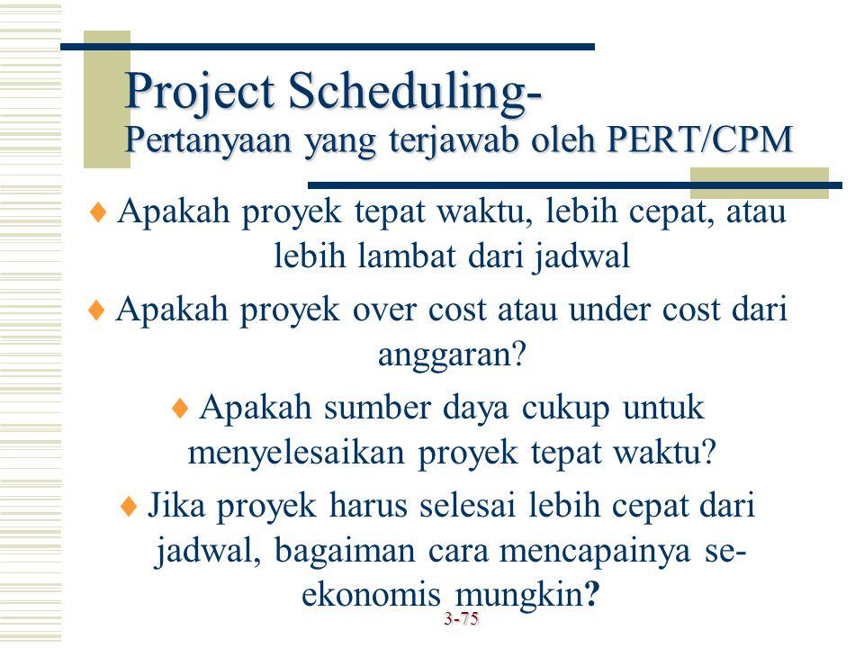 3-75  Apakah proyek tepat waktu, lebih cepat, atau lebih lambat dari jadwal  Apakah proyek over cost atau under cost dari anggaran?  Apakah sumber