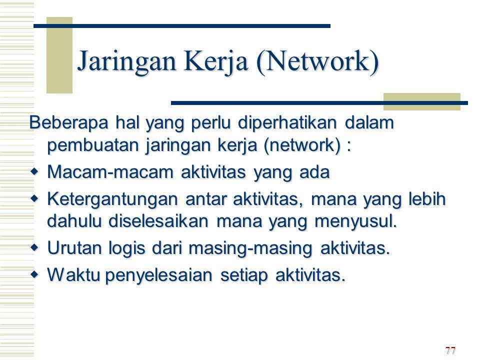Beberapa hal yang perlu diperhatikan dalam pembuatan jaringan kerja (network) :  Macam-macam aktivitas yang ada  Ketergantungan antar aktivitas, man
