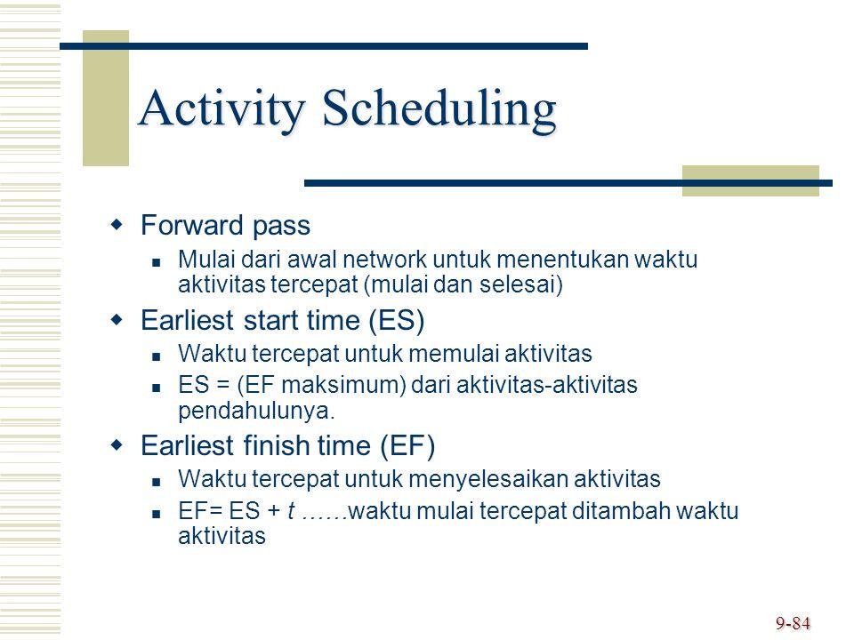 9-84 Activity Scheduling   Forward pass Mulai dari awal network untuk menentukan waktu aktivitas tercepat (mulai dan selesai)   Earliest start tim