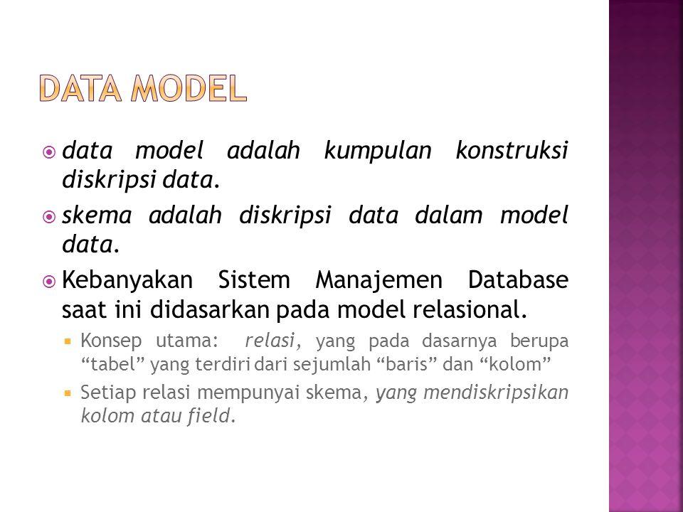 Data dalam DBMS dibagi dalam 3 level Abstraksi :  Skema eksternal, bagaimana user melihat data  Skema konseptual, mendefinisikan struktur.