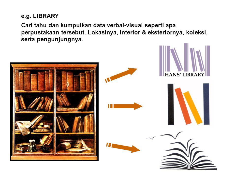 e.g. LIBRARY Cari tahu dan kumpulkan data verbal-visual seperti apa perpustakaan tersebut. Lokasinya, interior & eksteriornya, koleksi, serta pengunju