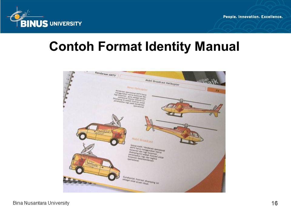 Bina Nusantara University 16 Contoh Format Identity Manual