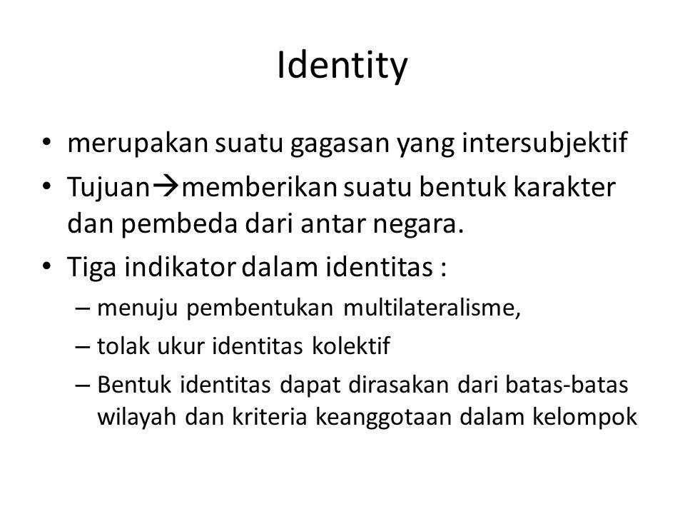 Identity merupakan suatu gagasan yang intersubjektif Tujuan  memberikan suatu bentuk karakter dan pembeda dari antar negara. Tiga indikator dalam ide