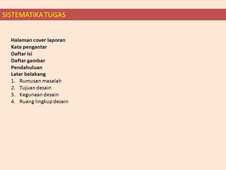 Halaman cover laporan Kata pengantar Daftar isi Daftar gambar Pendahuluan Latar belakang 1.Rumusan masalah 2.Tujuan desain 3.Kegunaan desain 4.Ruang lingkup desain SISTEMATIKA TUGAS