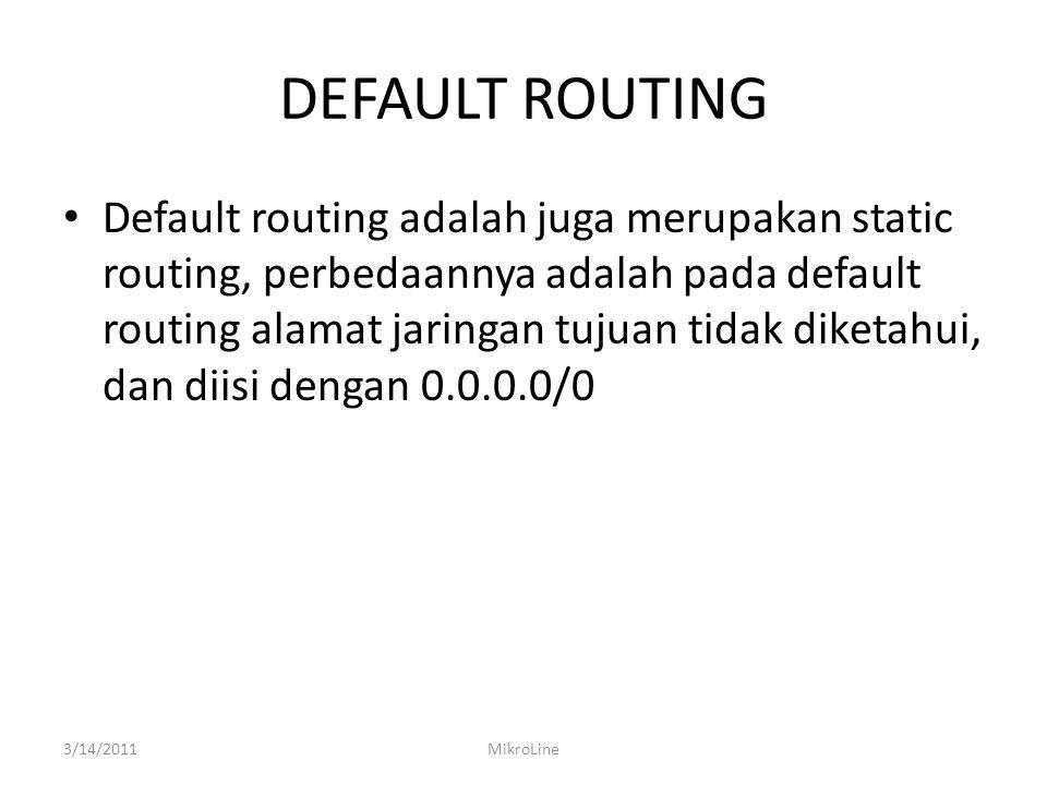 DEFAULT ROUTING Default routing adalah juga merupakan static routing, perbedaannya adalah pada default routing alamat jaringan tujuan tidak diketahui,