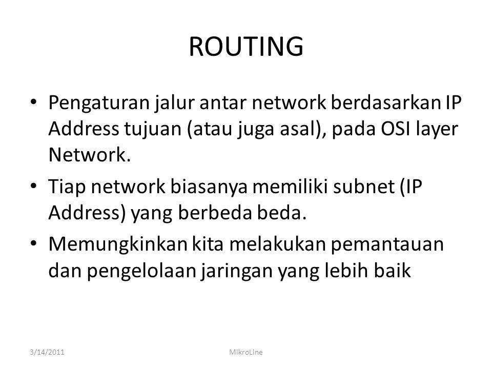 ROUTING Pengaturan jalur antar network berdasarkan IP Address tujuan (atau juga asal), pada OSI layer Network. Tiap network biasanya memiliki subnet (