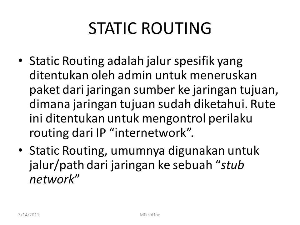 STATIC ROUTING Static Routing adalah jalur spesifik yang ditentukan oleh admin untuk meneruskan paket dari jaringan sumber ke jaringan tujuan, dimana