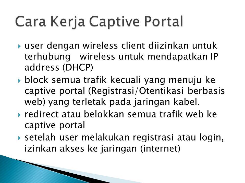  user dengan wireless client diizinkan untuk terhubung wireless untuk mendapatkan IP address (DHCP)  block semua trafik kecuali yang menuju ke captive portal (Registrasi/Otentikasi berbasis web) yang terletak pada jaringan kabel.