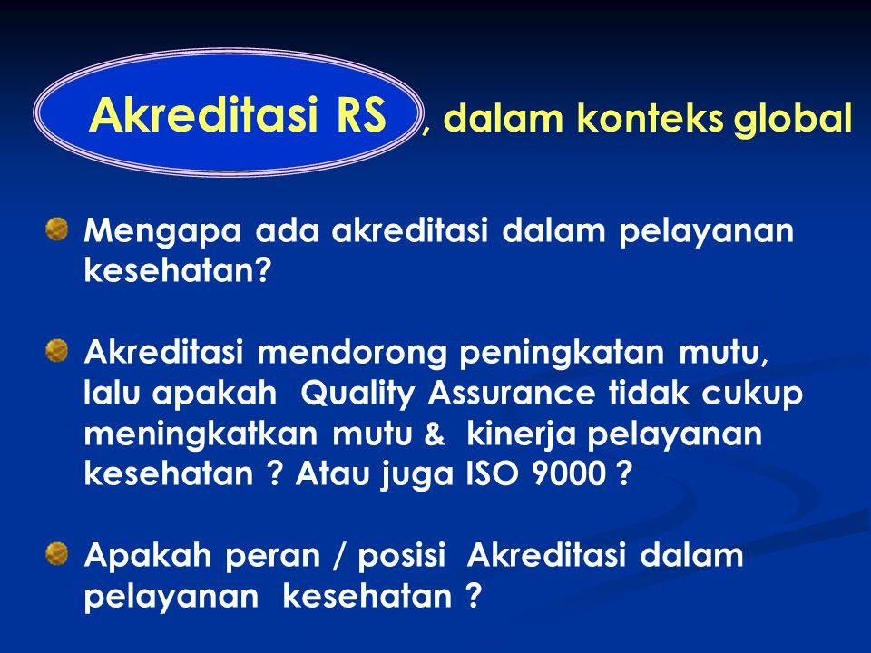 A kreditasi RS, dalam konteks global : Mengapa ada akreditasi dalam pelayanan kesehatan? Akreditasi mendorong peningkatan mutu, lalu apakah Quality As