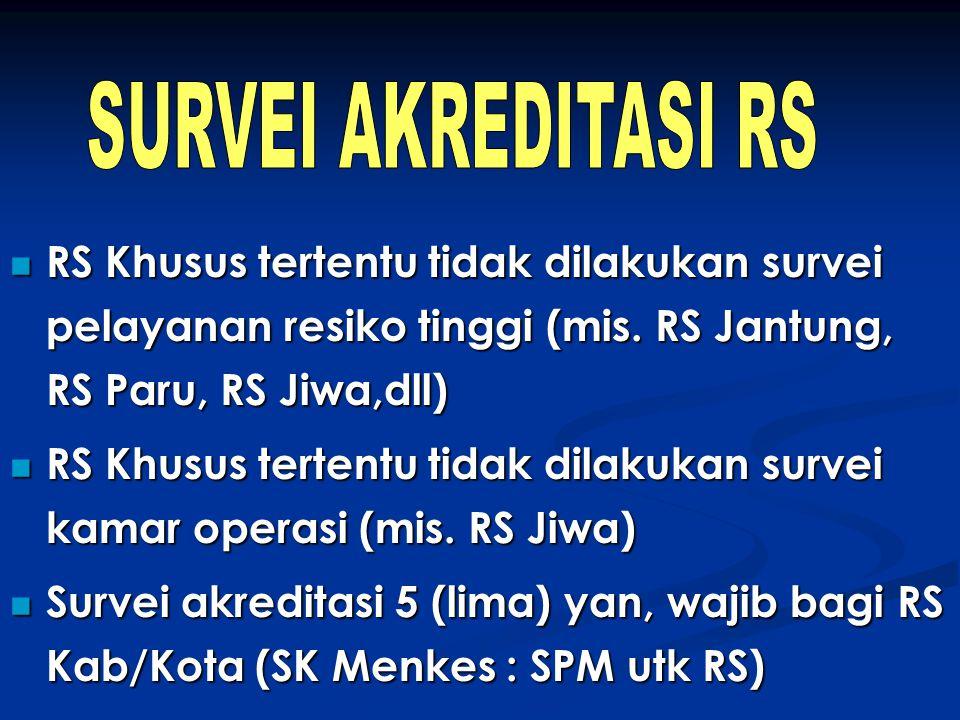 RS Khusus tertentu tidak dilakukan survei pelayanan resiko tinggi (mis. RS Jantung, RS Paru, RS Jiwa,dll) RS Khusus tertentu tidak dilakukan survei pe