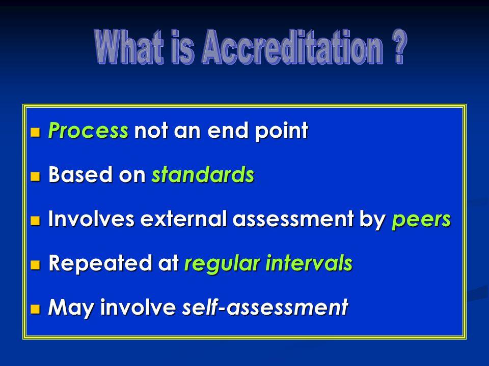 Process not an end point Process not an end point Based on standards Based on standards Involves external assessment by peers Involves external assess