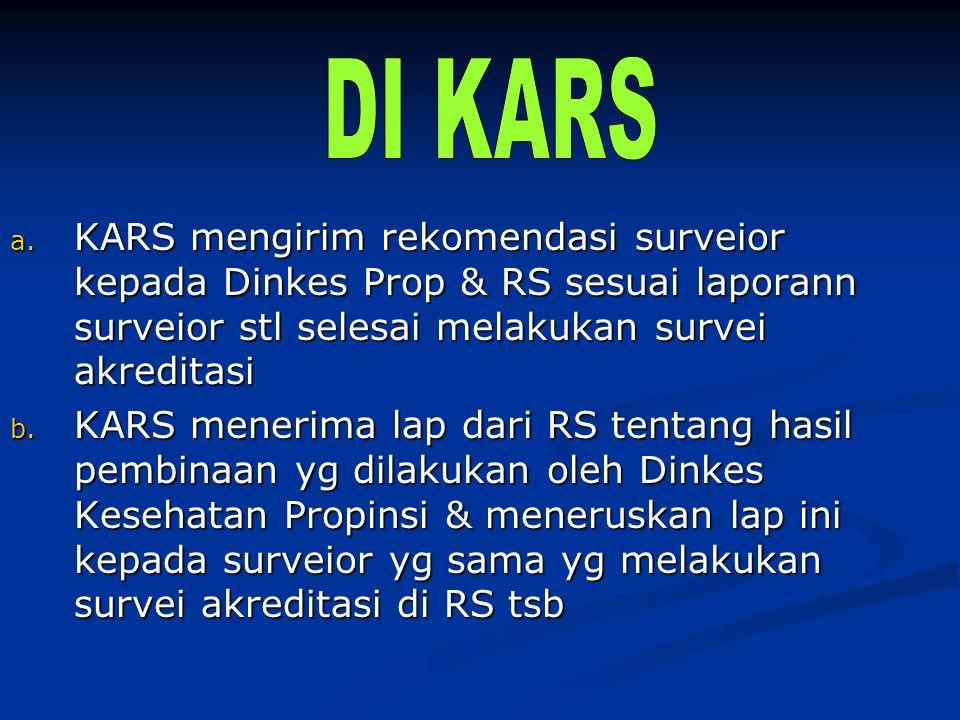 a. KARS mengirim rekomendasi surveior kepada Dinkes Prop & RS sesuai laporann surveior stl selesai melakukan survei akreditasi b. KARS menerima lap da