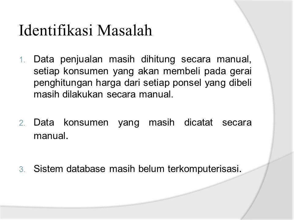 Rumusan Masalah 1.Bagaimana sistem dapat menentukan proses penjualan di Cendana Cell.