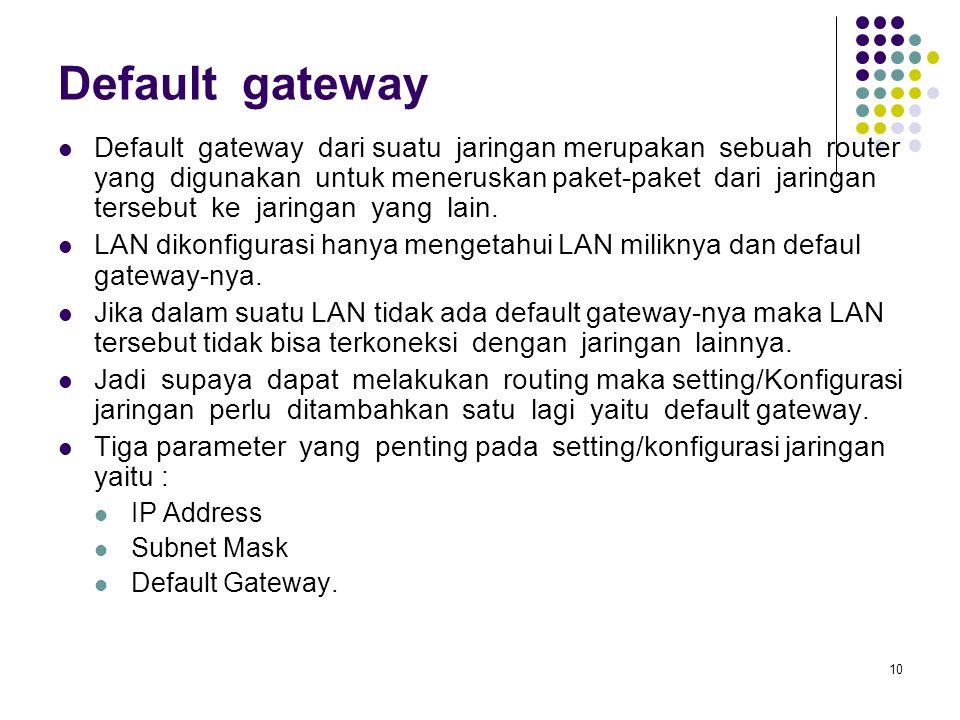 10 Default gateway Default gateway dari suatu jaringan merupakan sebuah router yang digunakan untuk meneruskan paket-paket dari jaringan tersebut ke j