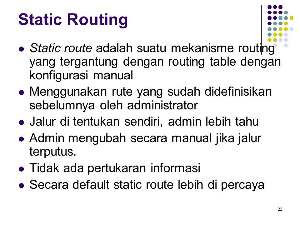22 Static Routing Static route adalah suatu mekanisme routing yang tergantung dengan routing table dengan konfigurasi manual Menggunakan rute yang sud