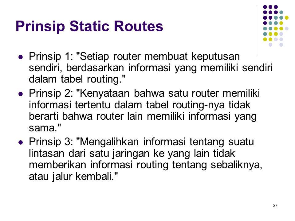 27 Prinsip Static Routes Prinsip 1:
