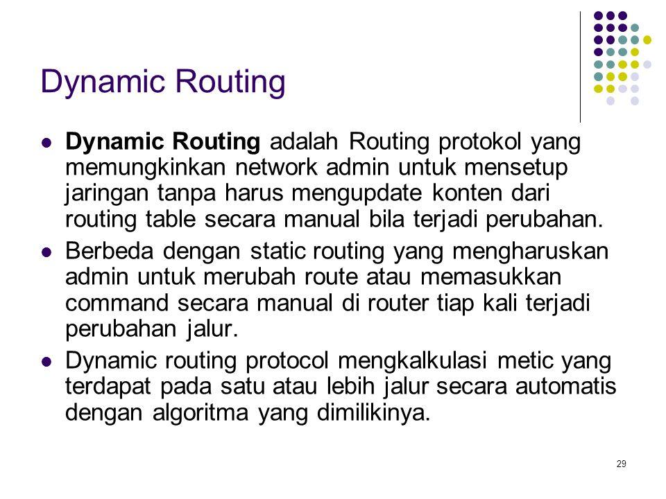 29 Dynamic Routing Dynamic Routing adalah Routing protokol yang memungkinkan network admin untuk mensetup jaringan tanpa harus mengupdate konten dari