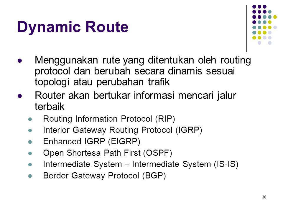 30 Dynamic Route Menggunakan rute yang ditentukan oleh routing protocol dan berubah secara dinamis sesuai topologi atau perubahan trafik Router akan b