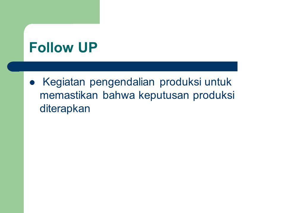 Follow UP Kegiatan pengendalian produksi untuk memastikan bahwa keputusan produksi diterapkan