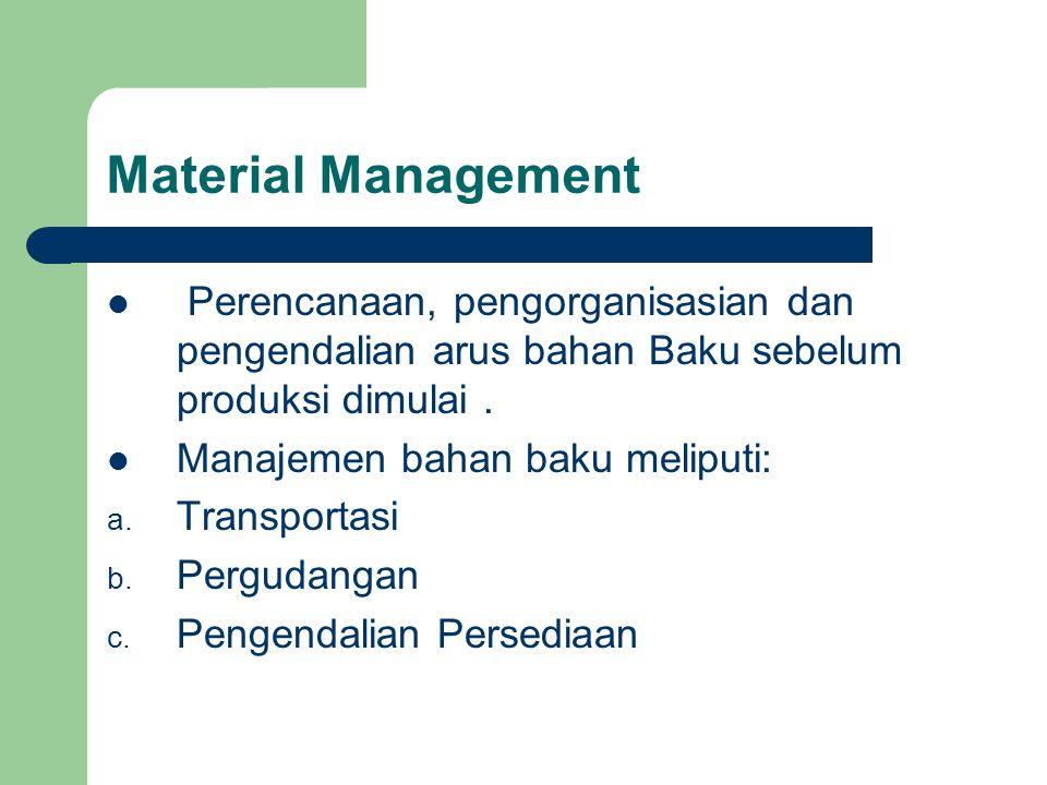 Material Management Perencanaan, pengorganisasian dan pengendalian arus bahan Baku sebelum produksi dimulai. Manajemen bahan baku meliputi: a. Transpo