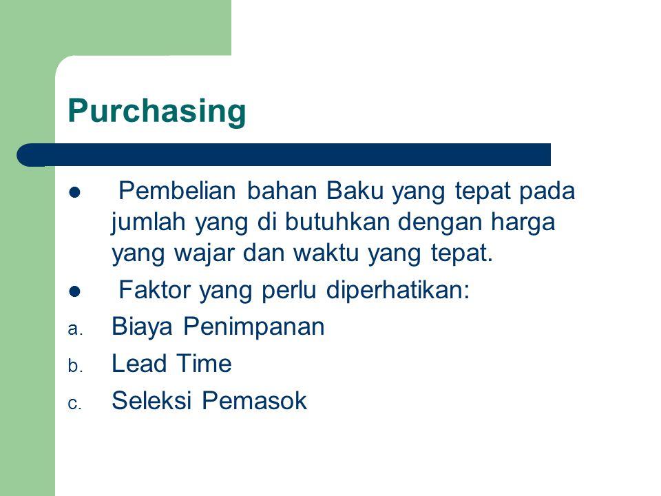Purchasing Pembelian bahan Baku yang tepat pada jumlah yang di butuhkan dengan harga yang wajar dan waktu yang tepat. Faktor yang perlu diperhatikan: