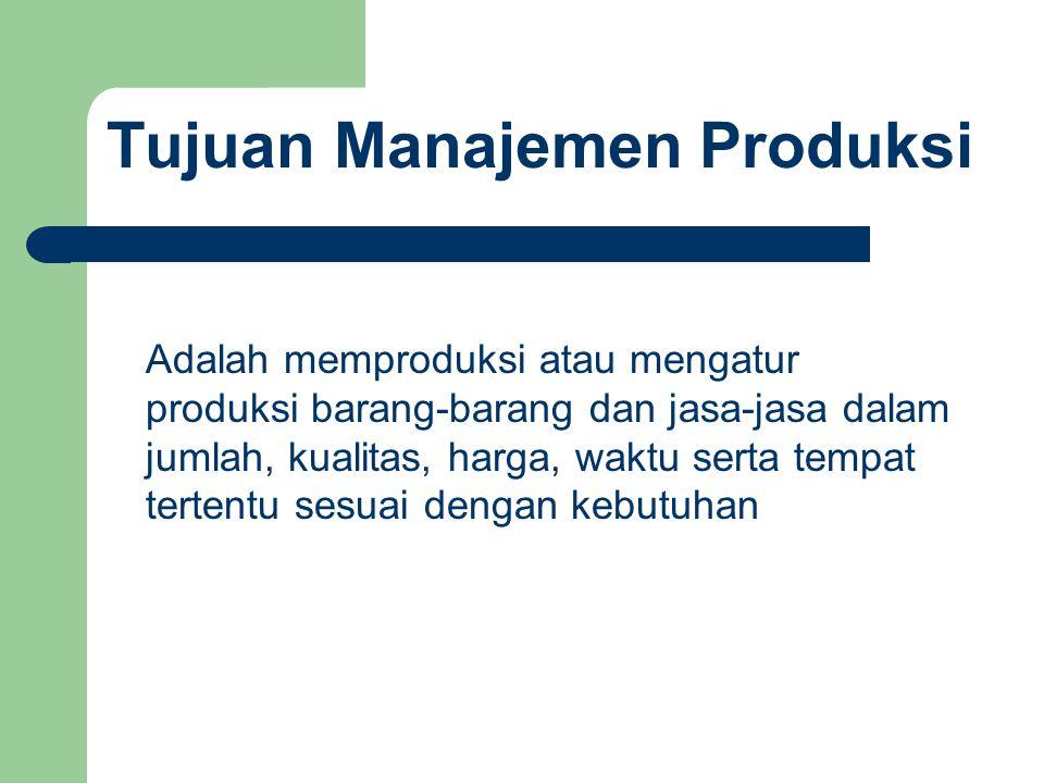 Tujuan Manajemen Produksi Adalah memproduksi atau mengatur produksi barang-barang dan jasa-jasa dalam jumlah, kualitas, harga, waktu serta tempat tert