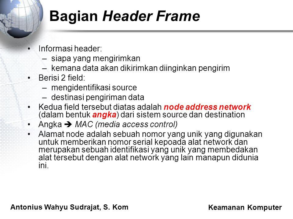 Antonius Wahyu Sudrajat, S. Kom Keamanan Komputer Bagian Header Frame Informasi header: –siapa yang mengirimkan –kemana data akan dikirimkan diinginka