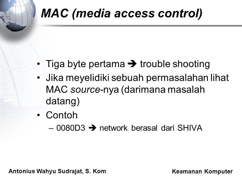 Antonius Wahyu Sudrajat, S. Kom Keamanan Komputer MAC (media access control) Tiga byte pertama  trouble shooting Jika meyelidiki sebuah permasalahan