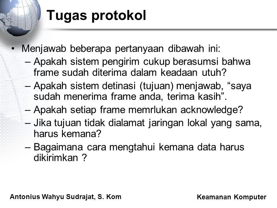 Antonius Wahyu Sudrajat, S. Kom Keamanan Komputer Tugas protokol Menjawab beberapa pertanyaan dibawah ini: –Apakah sistem pengirim cukup berasumsi bah