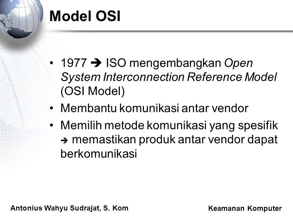 Antonius Wahyu Sudrajat, S. Kom Keamanan Komputer Model OSI 1977  ISO mengembangkan Open System Interconnection Reference Model (OSI Model) Membantu