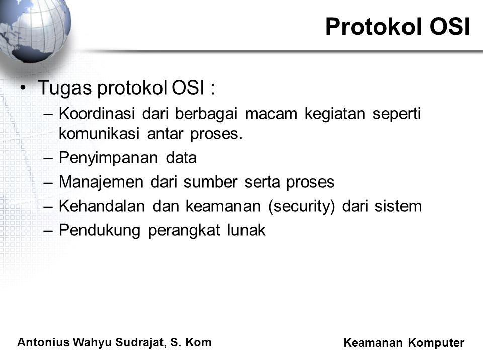 Antonius Wahyu Sudrajat, S. Kom Keamanan Komputer Protokol OSI Tugas protokol OSI : –Koordinasi dari berbagai macam kegiatan seperti komunikasi antar