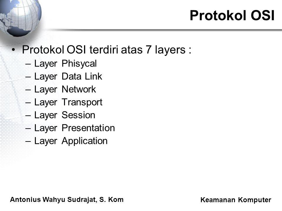 Antonius Wahyu Sudrajat, S. Kom Keamanan Komputer Protokol OSI Protokol OSI terdiri atas 7 layers : –Layer Phisycal –Layer Data Link –Layer Network –L
