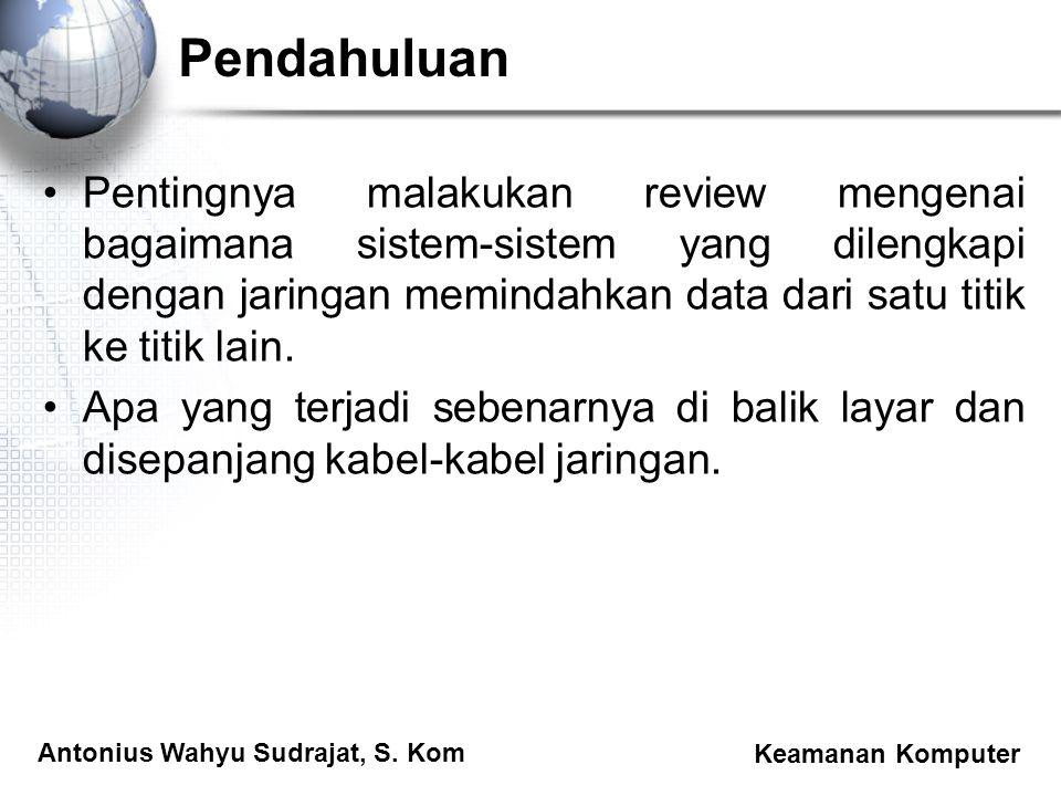 Antonius Wahyu Sudrajat, S. Kom Keamanan Komputer Pendahuluan Pentingnya malakukan review mengenai bagaimana sistem-sistem yang dilengkapi dengan jari