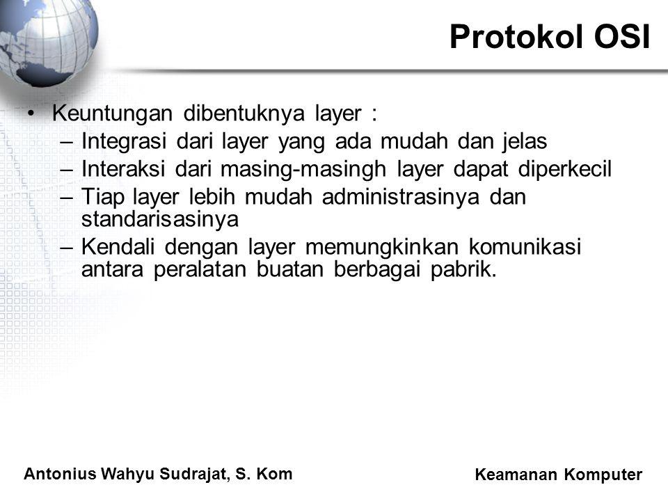 Antonius Wahyu Sudrajat, S. Kom Keamanan Komputer Protokol OSI Keuntungan dibentuknya layer : –Integrasi dari layer yang ada mudah dan jelas –Interaks