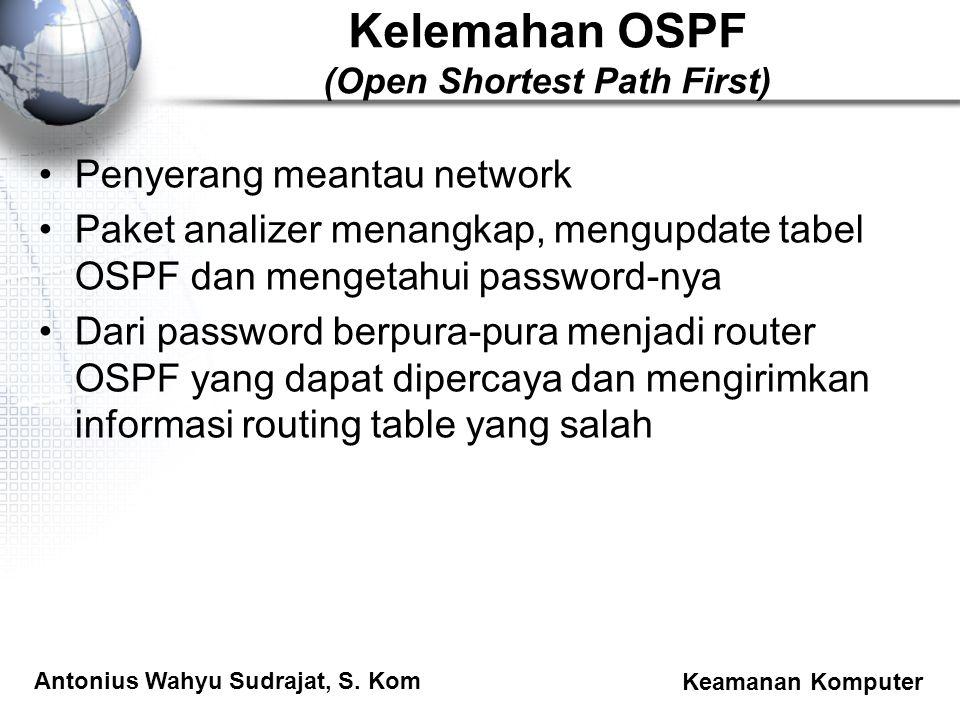 Antonius Wahyu Sudrajat, S. Kom Keamanan Komputer Kelemahan OSPF (Open Shortest Path First) Penyerang meantau network Paket analizer menangkap, mengup