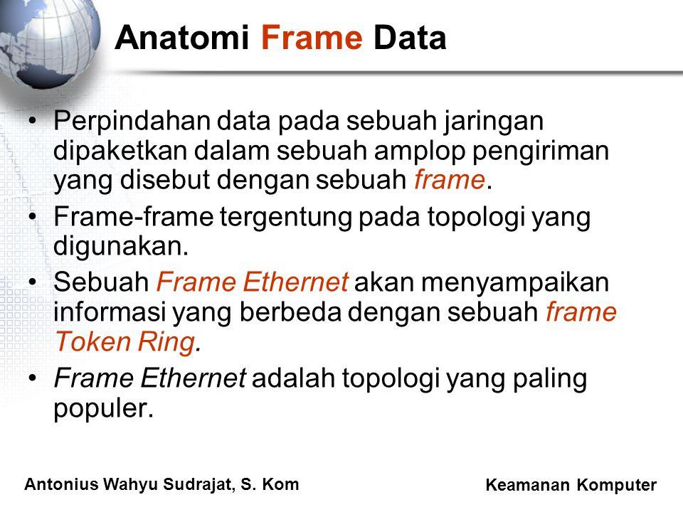 Antonius Wahyu Sudrajat, S. Kom Keamanan Komputer Anatomi Frame Data Perpindahan data pada sebuah jaringan dipaketkan dalam sebuah amplop pengiriman y